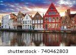 bruges   canals of brugge ... | Shutterstock . vector #740462803