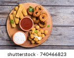 breaded cheese   fried onion... | Shutterstock . vector #740466823