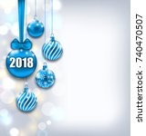 happy new year 2018 with blue... | Shutterstock .eps vector #740470507
