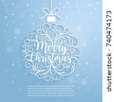 merry christmas paper cut art.... | Shutterstock .eps vector #740474173