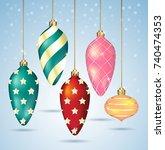 christmas balls ornaments... | Shutterstock .eps vector #740474353