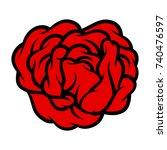 red rose isolated on white... | Shutterstock .eps vector #740476597
