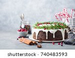 christmas fruit cake  pudding... | Shutterstock . vector #740483593