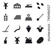 16 vector icon set   windmill ... | Shutterstock .eps vector #740486527
