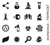16 vector icon set   molecule ...   Shutterstock .eps vector #740492287