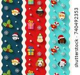 set seamless vertical wallpaper ... | Shutterstock .eps vector #740492353