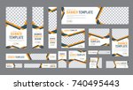 set of web banners of standard size with a place for photos. Vertical, horizontal and square template with black and yellow ribbon (lines), and buttons. Vector illustration | Shutterstock vector #740495443