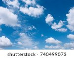 blue sky with clouds closeup | Shutterstock . vector #740499073