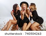 three pretty women  celebrate... | Shutterstock . vector #740504263