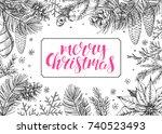vintage christmas vector...   Shutterstock .eps vector #740523493