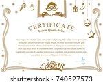 christmas certificate. santa... | Shutterstock .eps vector #740527573