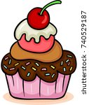 cupcake with cherry on top | Shutterstock .eps vector #740529187