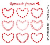 vector set of frames in heart... | Shutterstock .eps vector #740536747