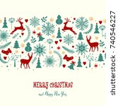christmas card. pattern with... | Shutterstock . vector #740546227