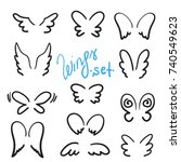 wings set. collection of ink... | Shutterstock .eps vector #740549623