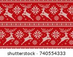 winter holiday seamless knitted ... | Shutterstock .eps vector #740554333