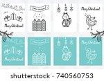premade handdrawn set of... | Shutterstock .eps vector #740560753