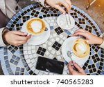 top view female hands holding... | Shutterstock . vector #740565283