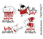 cute vector christmas sticker... | Shutterstock .eps vector #740579677