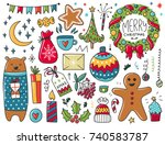 doodles christmas elements.... | Shutterstock .eps vector #740583787