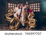 happy christmas moments with... | Shutterstock . vector #740597707