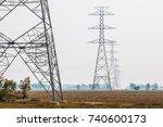 silhouette electricity pole ... | Shutterstock . vector #740600173