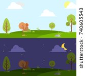 day and night landscape... | Shutterstock .eps vector #740605543