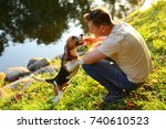 Small photo of Man sit on squat on haunches at green bank of river, play with young beagle dog. Owner tease doggy with wooden stick, pet stand on hind legs and gnaw twig