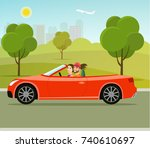 cabriolet with couple side view.... | Shutterstock .eps vector #740610697