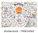 thanksgiving traditional... | Shutterstock .eps vector #740614363