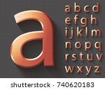 set of copper 3d lowercase... | Shutterstock .eps vector #740620183
