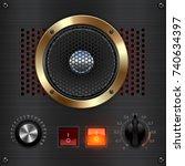 metal amp dashboard. amp meter. ... | Shutterstock .eps vector #740634397