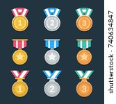 win medals set. trendy flat... | Shutterstock .eps vector #740634847