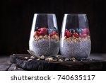 healthy breakfast or morning... | Shutterstock . vector #740635117