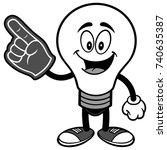 light bulb with foam finger... | Shutterstock .eps vector #740635387