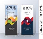 vertical roll up banner... | Shutterstock .eps vector #740644987