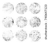 round grunge textures.vector... | Shutterstock .eps vector #740647123