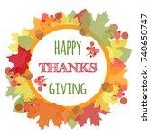 vector happy thanksgiving... | Shutterstock .eps vector #740650747