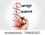Small photo of Hand writing ARPU - Average Revenue Per User with marker, acronym concept background