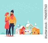 couple winter city landscape.... | Shutterstock .eps vector #740655763