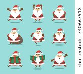 cartoon santa character... | Shutterstock .eps vector #740667913