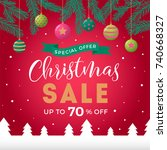 christmas sale design template | Shutterstock .eps vector #740668327