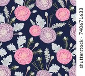 seamless pattern with pink and...   Shutterstock .eps vector #740671633