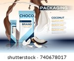 coconut chocolate packaging... | Shutterstock .eps vector #740678017