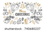 christmas set  hand drawn style ... | Shutterstock . vector #740680237
