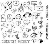 broken heart and love heart... | Shutterstock .eps vector #740686207