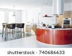 3d render of beautiful kitchen... | Shutterstock . vector #740686633