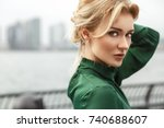 gorgeous lady in green dress... | Shutterstock . vector #740688607