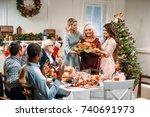 beautiful women holding... | Shutterstock . vector #740691973