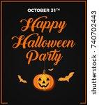 happy halloween party ... | Shutterstock . vector #740702443